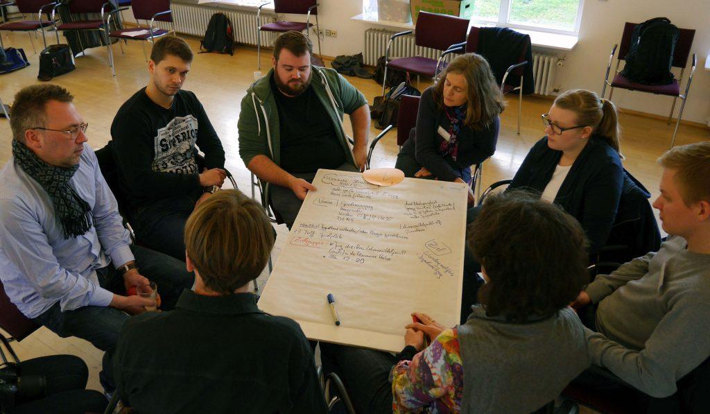 Arbeitsphase bei der Tagung zu Jugendbeteiligung im ländlichen Raum